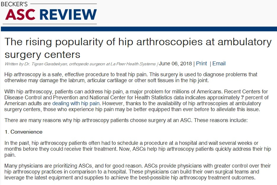 rising popularity of hip arthroscopies at ambulatory surgery centers